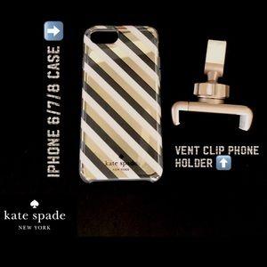 Kate Spade IPhone 6/7/8 phone case & vent clip